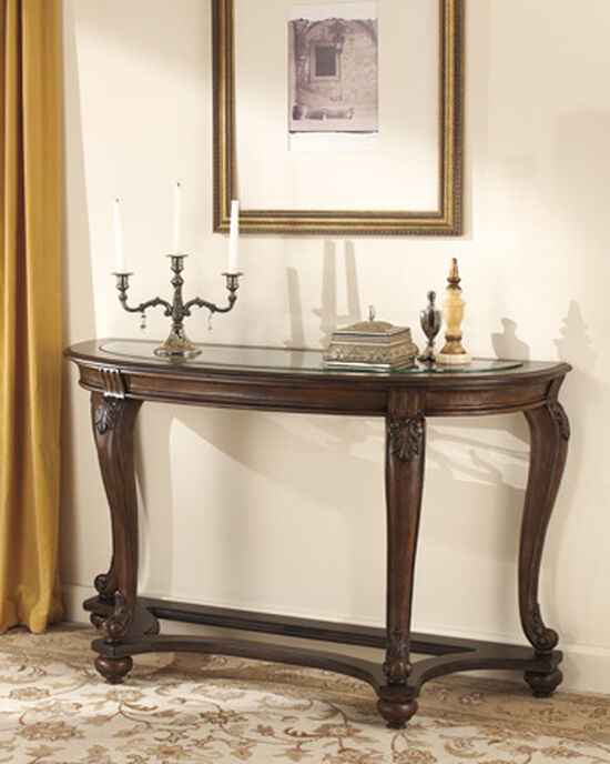 Float Glass Top Traditional Sofa Table in Dark Brown