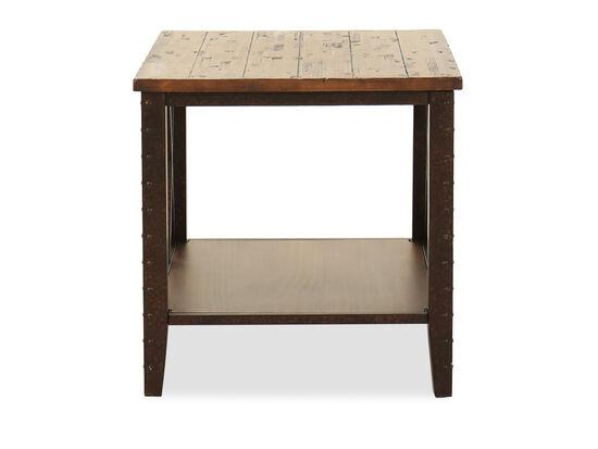 Distressed Square Casual End Tablein Dark Iron-Ore
