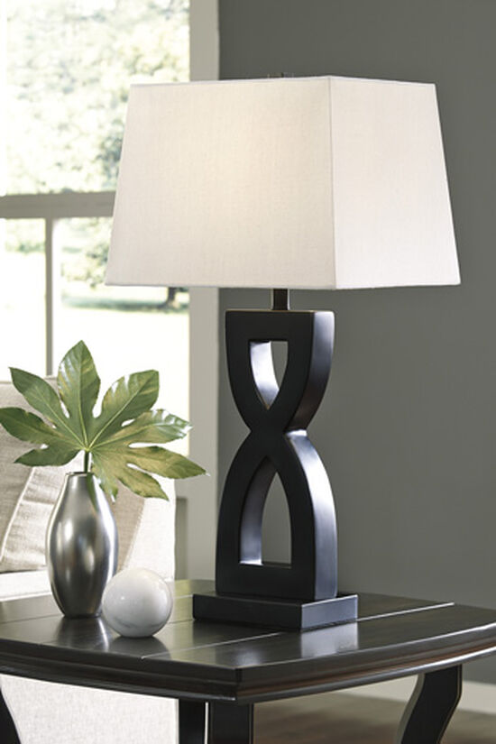 Contemporary Sculptured Table Lamp in Matte Black