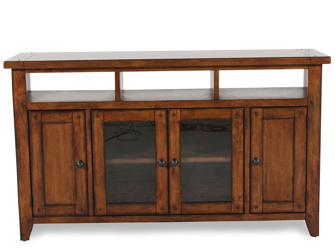 Four Door Country Entertainment Console In Saddle Brown