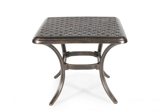 Lattice Patterned Aluminum Square End Table in Dark Brown