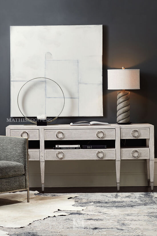 Six-Drawer Modern Console Table in Dove White