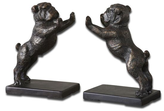Two-Piece Bulldog Bookends in Golden Bronze