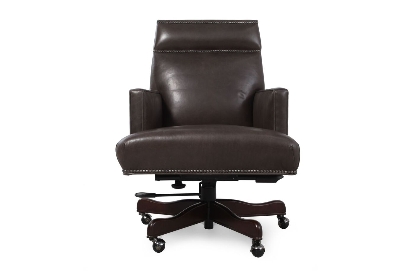 Images Leather Nailhead Accented Executive Desk Chair Nbsp In Charcoal Grey