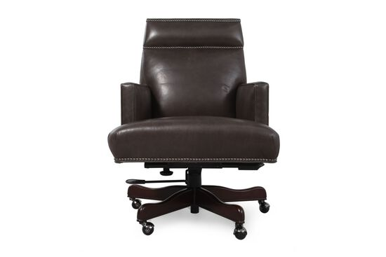 Leather Nailhead Accented Executive Desk Chair in Charcoal Grey
