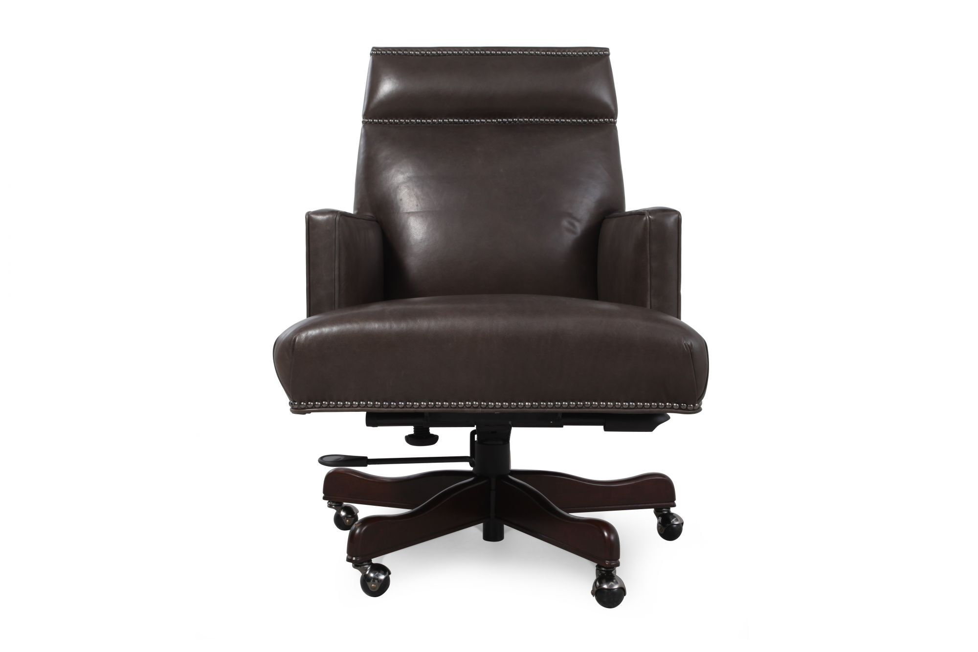 Images Leather Nailhead Accented Executive Desk Chairu0026nbsp;in Charcoal Grey  Leather Nailhead Accented Executive Desk Chairu0026nbsp;in Charcoal Grey