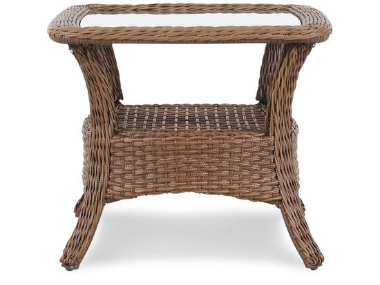 Woven Casual Glass Top End Table in Medium Brown