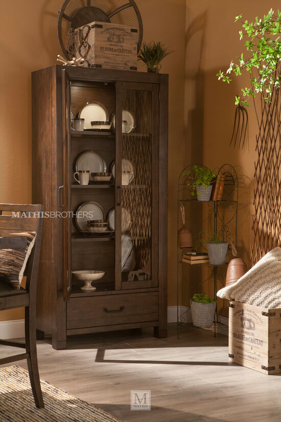 Transitional Solid Pine Curio Cabinet in Rustic Pine