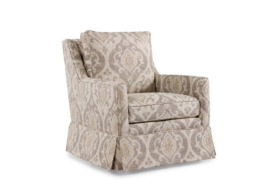"""Paisley Patterned Transitional 29.5"""" Swivel Chair in Cream"""