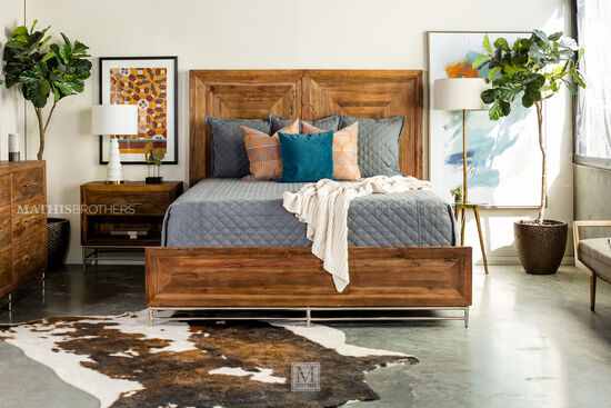 """68"""" Casual California King Panel Bed in Brown"""