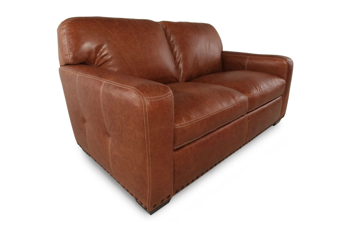 Traditional leather 66 loveseat in saddle mathis for Traditional loveseat
