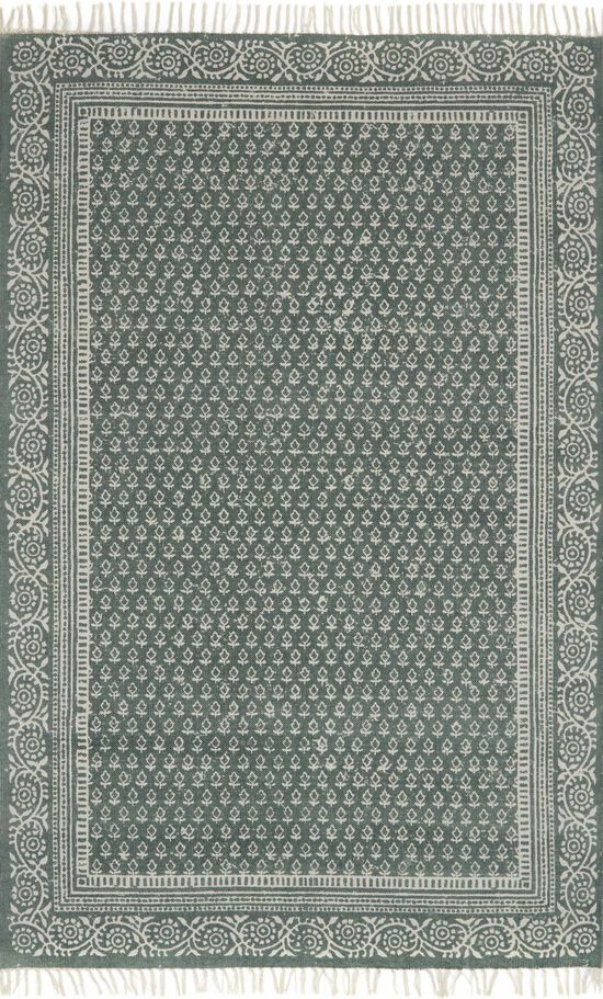 """Transitional 1'-6""""x1'-6"""" Square Rug in Green"""