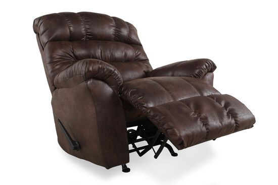 "Contemporary 46"" Rocking Recliner in Dark Russet Sable Brown"