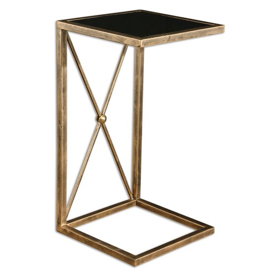 X-Base Glass Side Table in Antique Gold