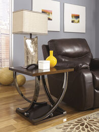 Contemporary Cross-Base End Table in Black Nickel