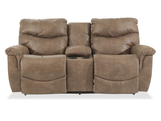 "Power Reclining Casual 79"" Console Loveseat in Brown"