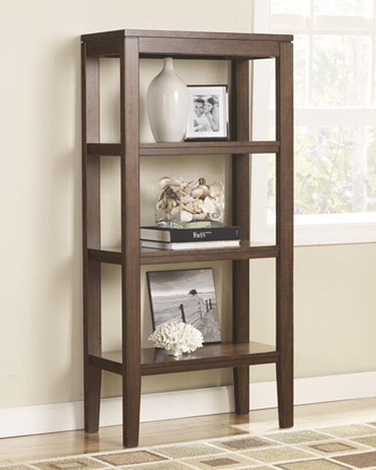 Casual Three-Shelf Pier Cabinet in Dark Brown