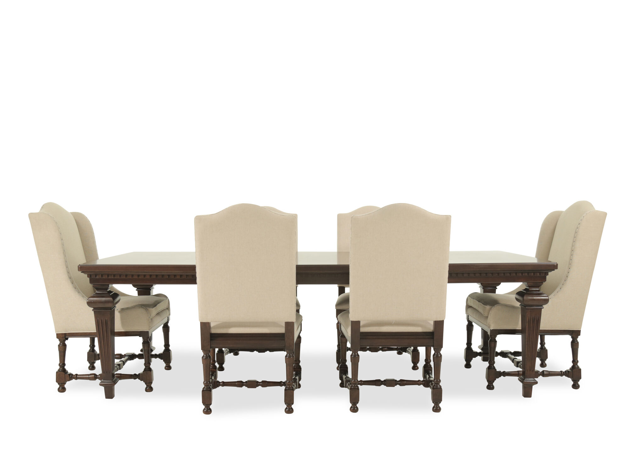 Images Seven Piece Traditional Dining Set In Dark Sumatra Seven Piece Traditional  Dining Set In Dark Sumatra