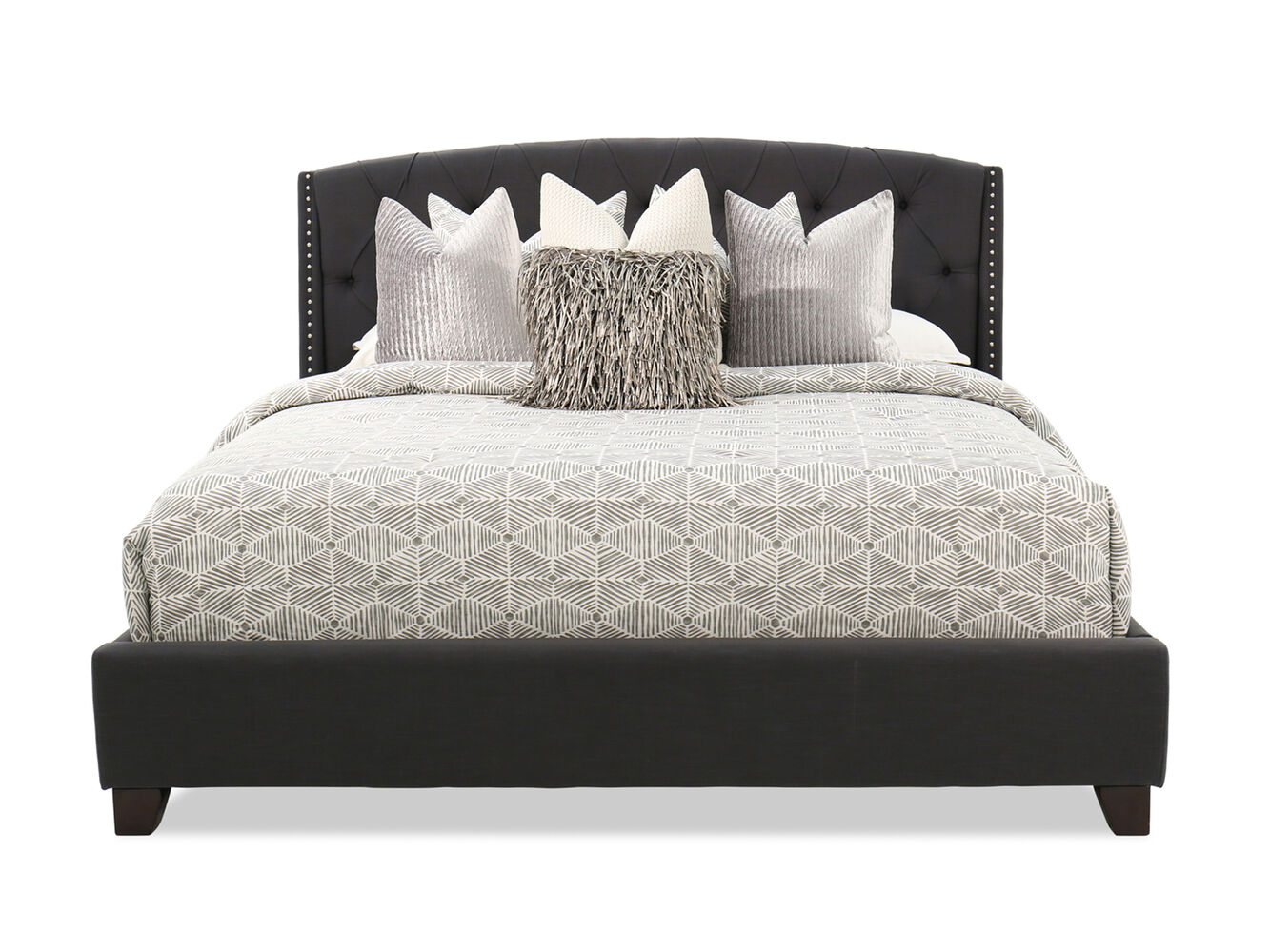 "55"" Contemporary Button Tufted Bed In Dark Gray"