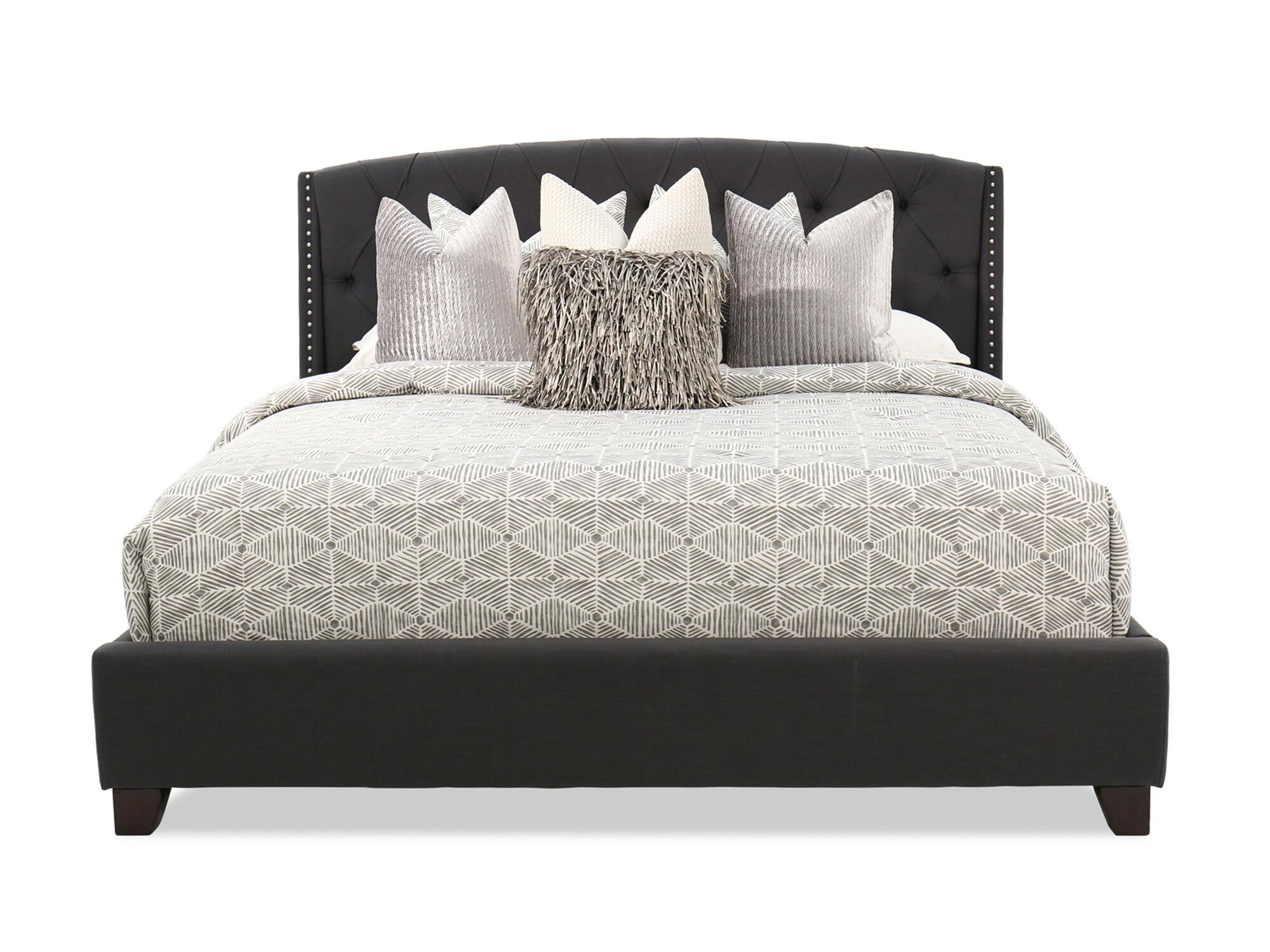 ashley kasidon dark gray tufted bed
