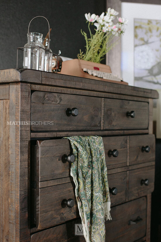 "56"" Five-Drawer Country Chest in Distressed Natural Umber"