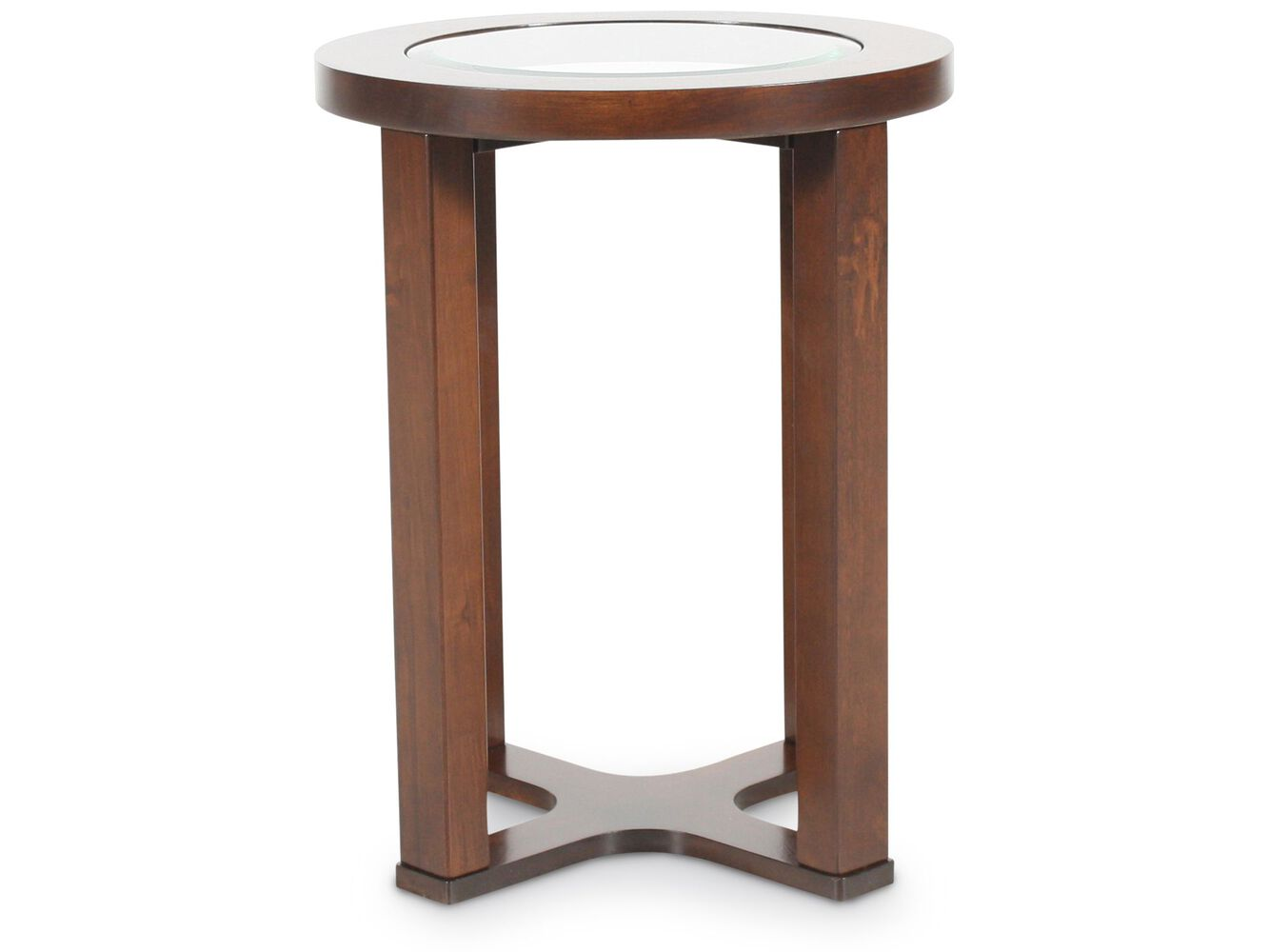 Round beveled glass contemporary end table in dark merlot for Round end tables