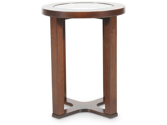 Round beveled glass contemporary end table in dark merlot - Round glass tables for living room ...