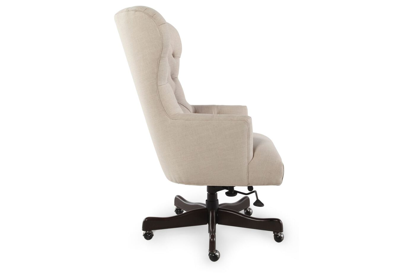 Button Tufted Swivel Desk Chair In Natchez Brown Mathis