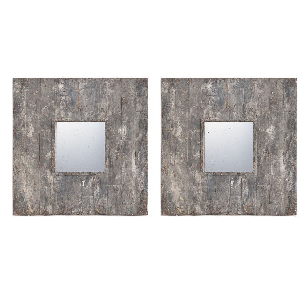 20 two piece textured square mirror set in stone gray for Square mirror