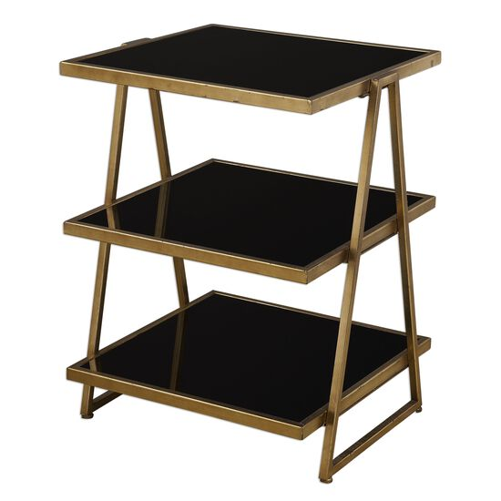 Tri-Layered Shelf Glass Accent Table in Gold