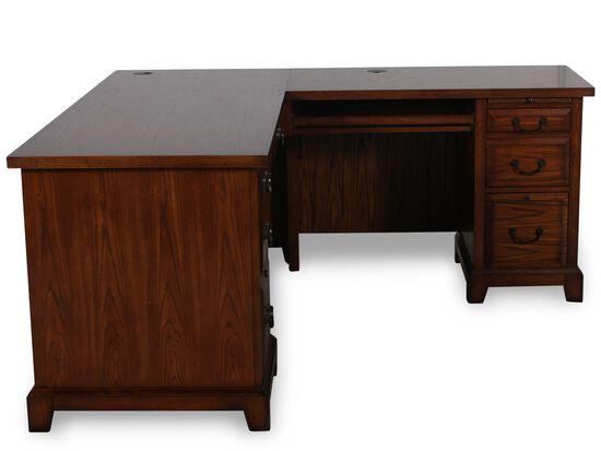 "66"" Traditional Seven-Drawer Return Desk in Oak"