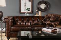 """Bernhardt 92.5"""" Leather Tufted Sofa in Dark Brown"""