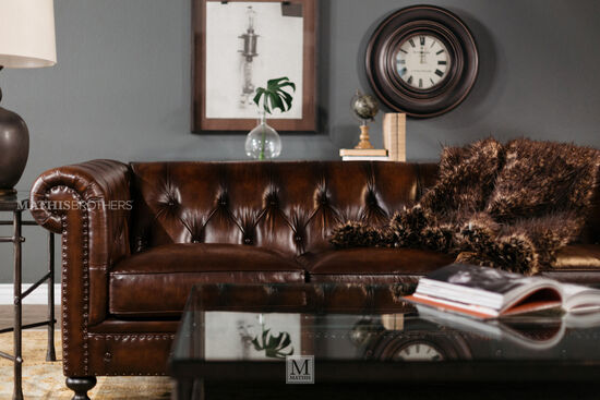 "Leather Button-Tufted 92.5"" Sofa in Dark Brown"