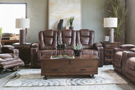 "84"" Power Reclining Microfiber Sofa in Brown"