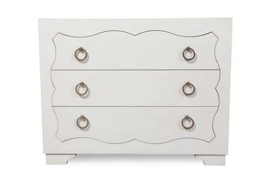 "30"" Glam Three-Drawer Nightstand in Alabaster"