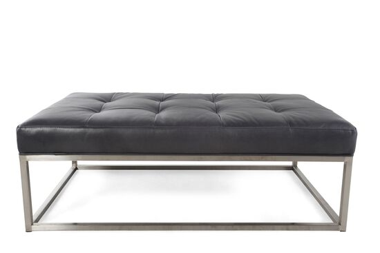 "Tufted Contemporary 31"" Leather Ottoman in Black"