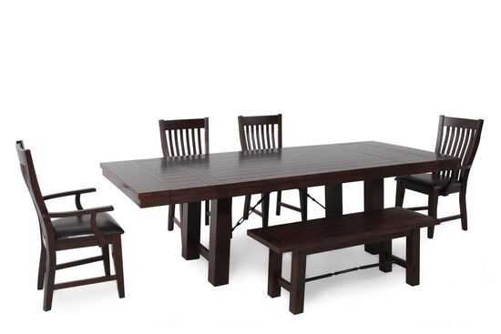 Six-Piece Casual Rectangle Extension 78'' to 102'' Dining Set in Dark Brown