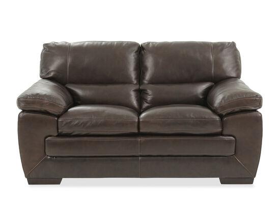 """Traditional Leather 65"""" Loveseat in Black Oak"""