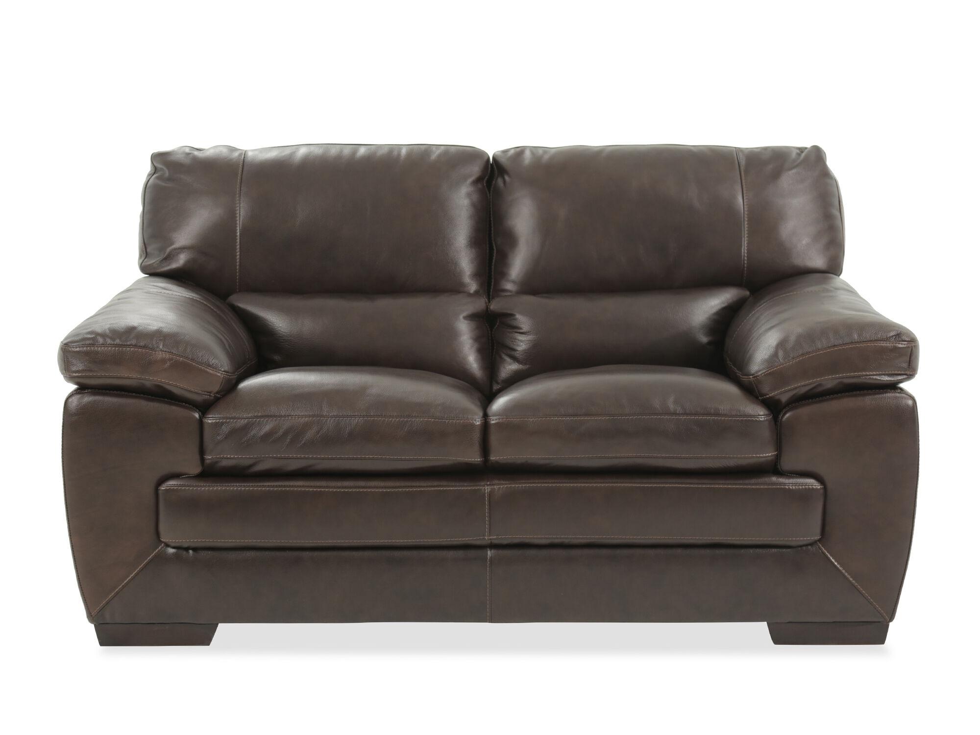 Traditional Leather 65u0026quot; Loveseat In Black Oak