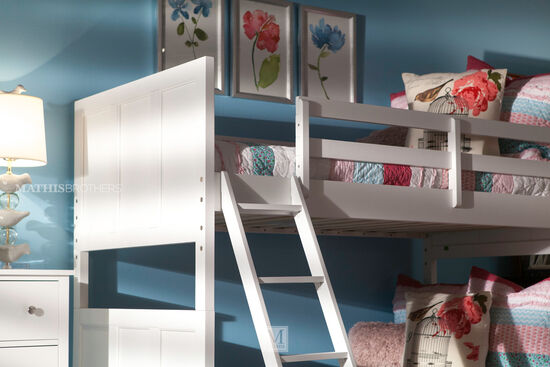 Casual Youth Twin Over Twin Bunk Bed in White