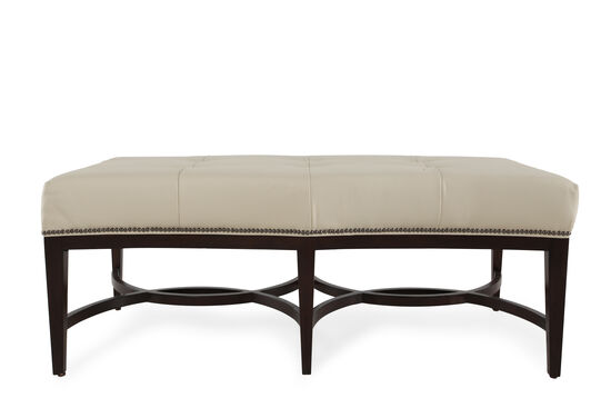 "Leather 54.5"" Nailhead Trimmed Accent Bench in Cream"