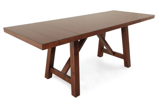"""Traditional 70"""" to 96"""" Trestle Dining Table in Medium Brown"""
