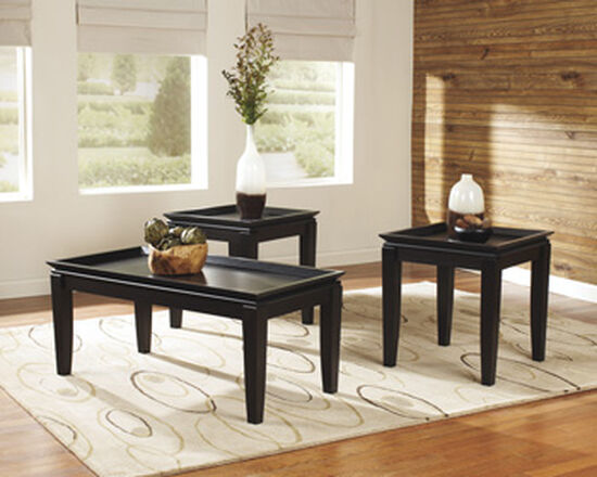 Three-Piece Framed Tray Contemporary Accent Table Set in Dark Brown
