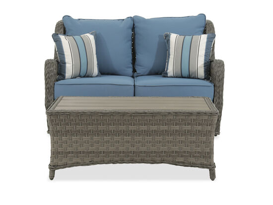 Aluminum Woven Loveseat and Table in Gray