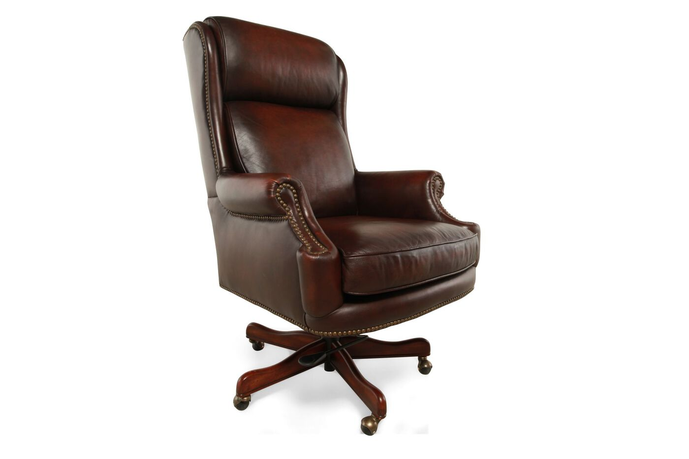 Leather Ergonomic Executive Swivel Tilt Chair in Rich Brown ...