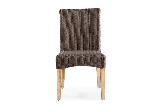 Weather-Resistant Casual Wicker Dining Chair in Dark Brown