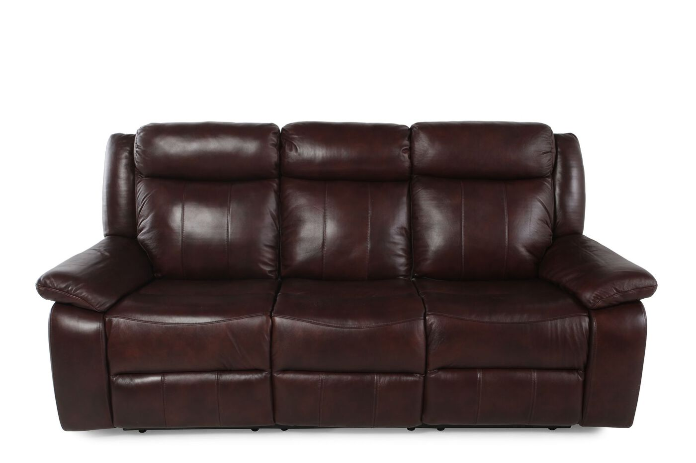 Leather 86 power reclining sofa in brown mathis Power reclining sofas and loveseats