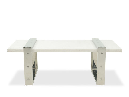 Stone-Top Contemporary Cocktail Table in Silver