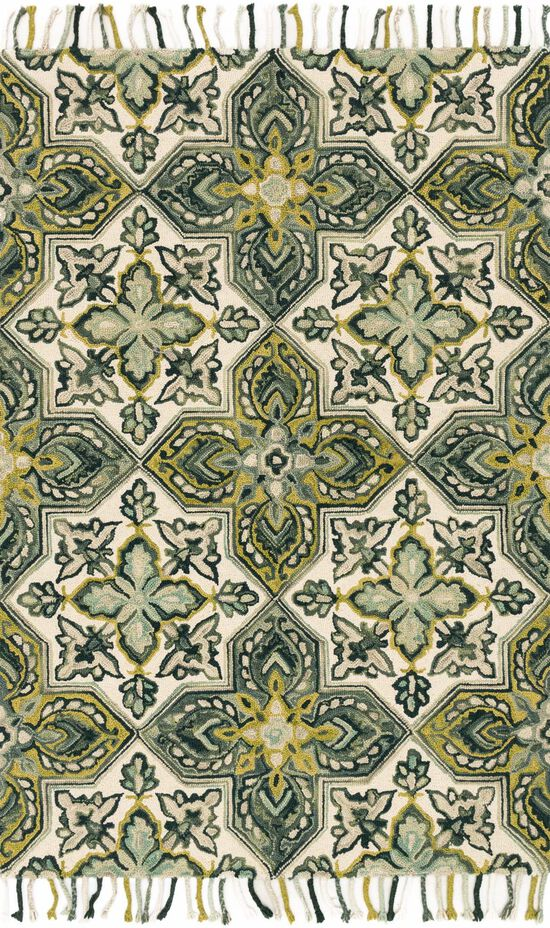 """Contemporary 1'-6""""x1'-6"""" Square Rug in Ivory/Emerald"""