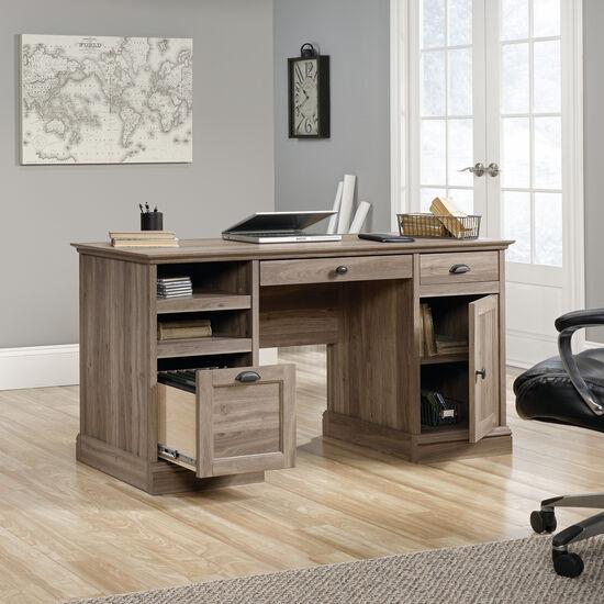 "59"" Traditional Two-Drawer Executive Desk in Salt Oak"